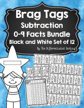 Brag Tags Subtraction Facts 0-9 Black and White Bundle