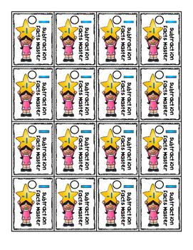 Brag Tags Subtraction Facts 0-9 Color Bundle