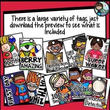 Brag Tags - Superhero themed tags - A Classroom Management/Reward System