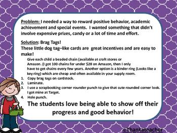 Free Brag Tags: Whole Brain Teaching Classroom Rules