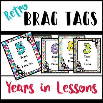 Brag Tags - Years in Lessons/Piano - Retro Design