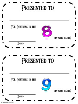 Brag Tags and Editable Award Certificates for Division Facts  0-15