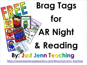 Brag Tags for AR night and Reading