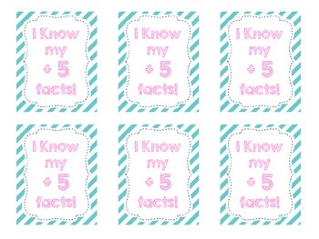 Brag Tags for Addition Fact Mastery (0-10)