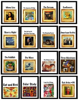 Brag Tags for Art - Colors, Shapes, Famous Paintings - K, 1st, ESL (3 pages)