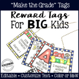 Classroom Management Reward Tags for Big Kids: Editable Academic Tags