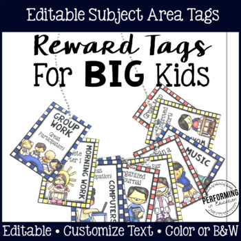 Brag Tags for Big Kids: Subject Area Reward Tags
