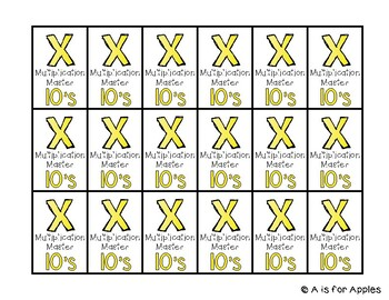 Brag Tags for Multiplication