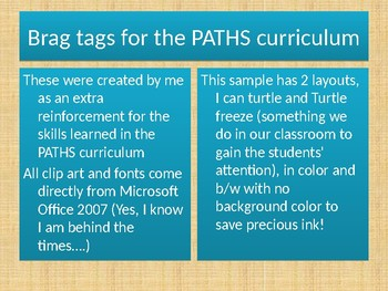 Brag Tags for the PATHS Curriculum