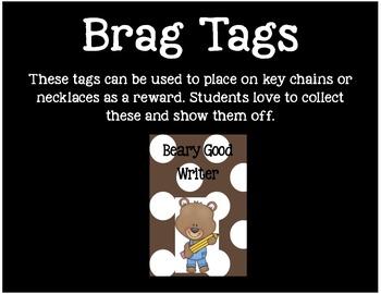 Brag Tags or Behavior Tags: Beary Good Writer