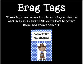 Brag Tags or Behavior Tags: Rootin' Tootin' Mathematician