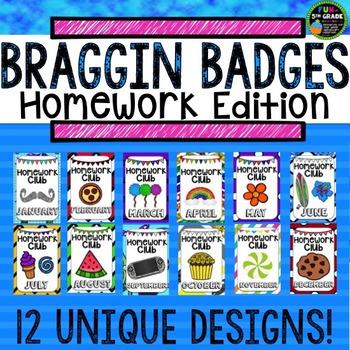 Homework Incentive Braggin Badges | Reward Tags