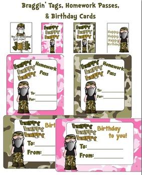 Braggin' Tags, Homework Passes, Birthday Cards