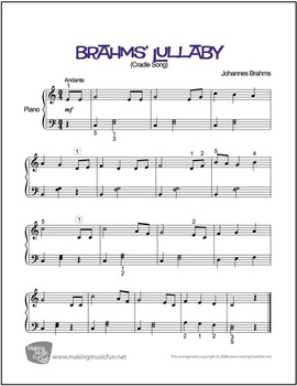 Brahms' Lullaby | Sheet Music for Piano Solo (Digital Print)