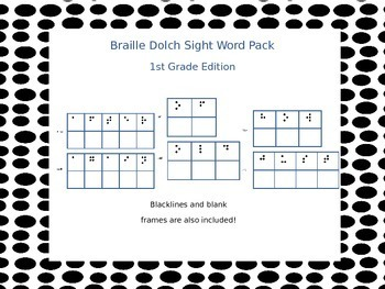 Braille Dolch Sight Word Activity Cards 1st Grade (Grade 1) Edition