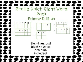 Braille Dolch Sight Word Activity Cards Primer Edition