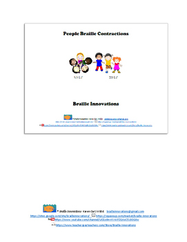 "Braille ""People"" Contractions File Folder Game"