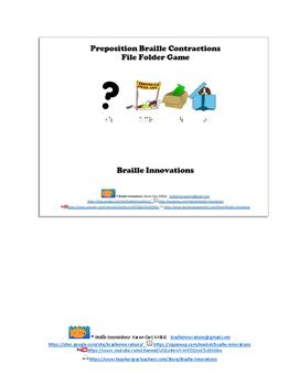 Braille Prepositions File Folder Game