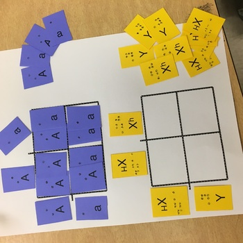Braille Punnett Square Cutouts for Blind Students