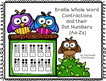 Braille whole word contractions Aa - Zz