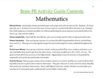 Brain PE Math Activity Guide
