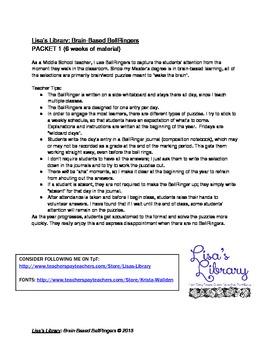 Brain Based BellRingers Packet 1 - 5-Minute Class Openers