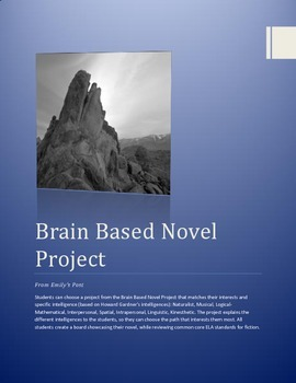 Brain Based Novel Project w/rubric and bookmark: Great Winter Break Homework