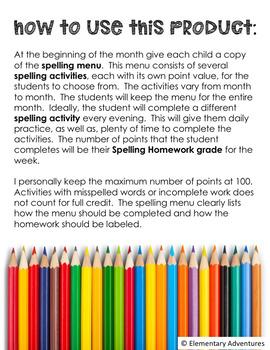 Spelling Homework Menu - Editable Year Packet