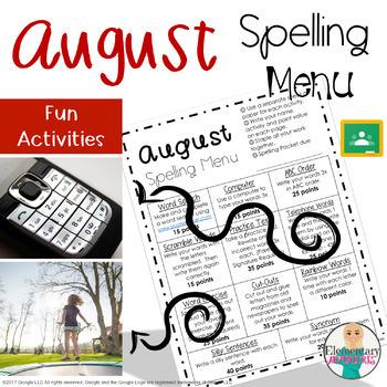 Spelling Menu - August - Homework Activities