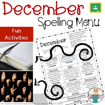 Spelling Menu - December - Homework Activites