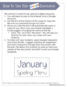 Spelling Menu - January - Homework Activities