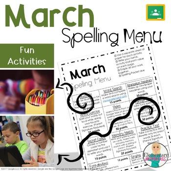 Spelling Menu - March - Homework Activities