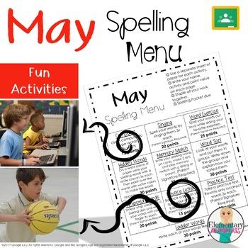 Spelling Menu - May - Homework Activities