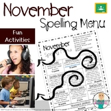 November Spelling Activities - Choice Menu - Works with AN