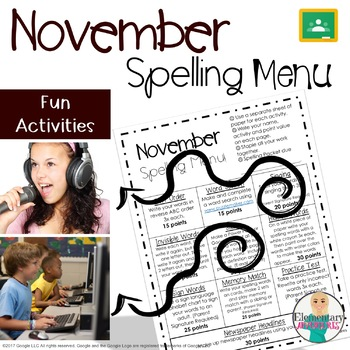 Spelling Menu - November - Homework Activities