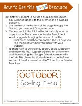 Spelling Menu - October - Homework Activities