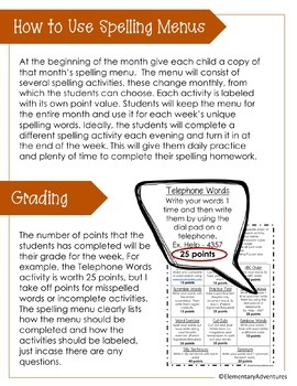 October Spelling Activities - Choice Menu - Works with ANY List of Words