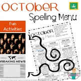 October Spelling Activities - Choice Menu - Works with ANY