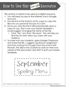 Spelling Menu - September - Homework Activities