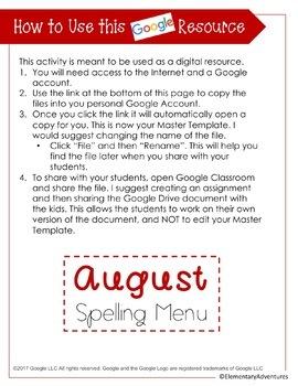 Spelling Menu - Homework Activities - Year Packet