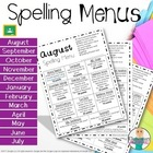 Spelling Menu - Homework Activities - Year Packet