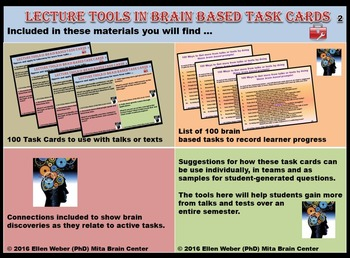 Brain Based Task Cards - Students Take Away More from Talks or Texts