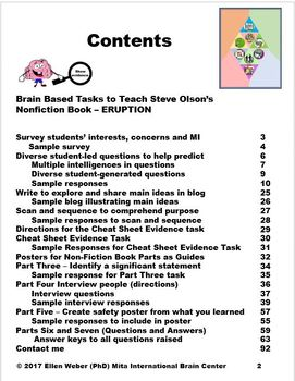 Brain Based Tasks into Non-Fiction Text ERUPTION- Untold Story of Mt. St. Helens