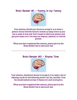 Brain Benders for Early Finishers