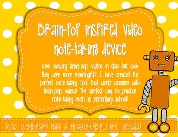 Brain Blast Note-Taking Tool: Math Measurement