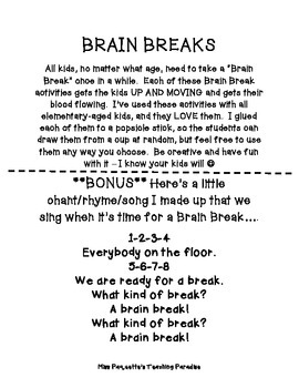 Brain Break Activities FREEBIE - GET KIDS UP AND MOVING!!