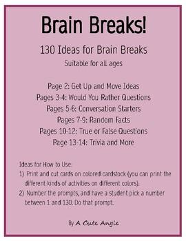 Brain Breaks - 130 prompts!