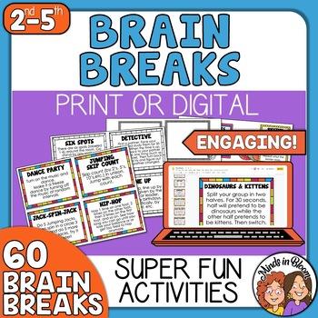Brain Breaks Cards - 60 Super Fun Brain Break Activity Cards!