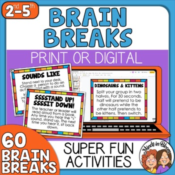 60 Brain Breaks Cards plus Cards for the Socially Distance Learning Classroom