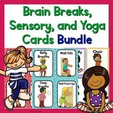Brain Break Cards, Sensory Cards, and Yoga Cards and Printables Bundle